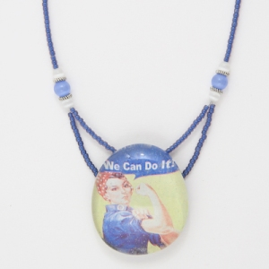 Rosie the Riveter Marble pendant